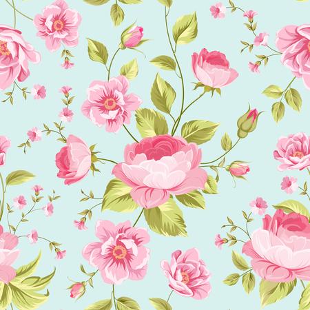 flores chinas: Wallapaper peonía de lujo en estilo vintage. Modelo inconsútil floral con los brotes de flor sobre fondo gris lineal. Ilustración del vector.