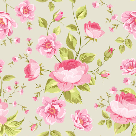 wallpaper pattern: Luxurious peony wallapaper in vintage style. Floral seamless pattern with blossom buds over gray background.  Vector illustration.