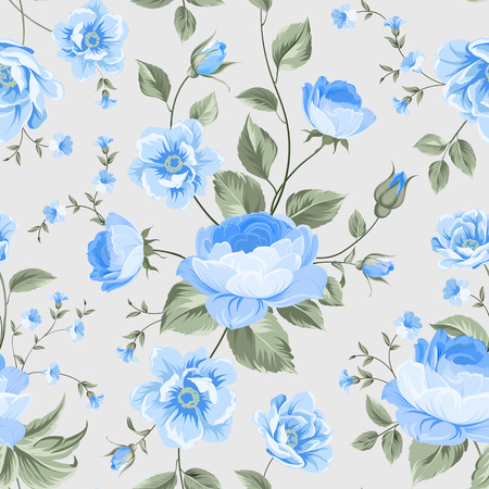 Luxurious peony wallapaper in vintage style. Floral seamless pattern with blue buds over linear gray background.  Vector illustration.