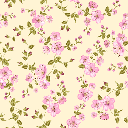 china business: Cherry blossom seamless pattern. Vector illustration.