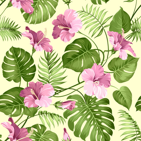 palm wreath: Seamless tropical pattern. Blossom flowers for seamless pattern background. Vector illustration.