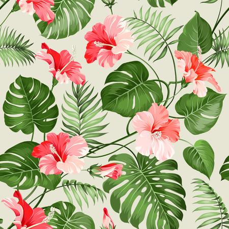 熱帯のシームレスなパターン。花のシームレスなパターン背景の花。ベクトルの図。  イラスト・ベクター素材