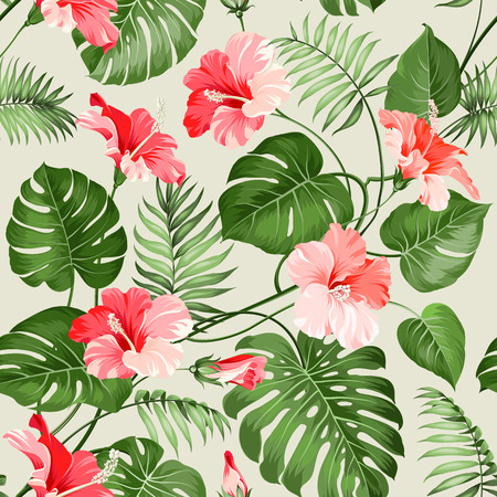 red hibiscus flower: Seamless tropical pattern. Blossom flowers for seamless pattern background. Vector illustration.