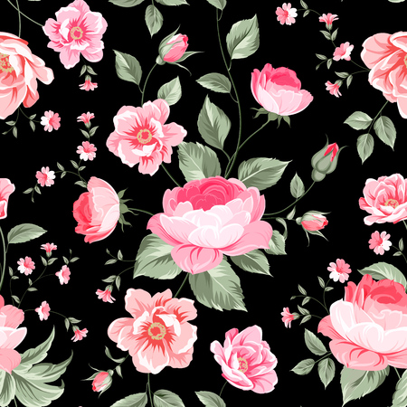 Luxurious peony wallapaper in vintage style. Floral seamless pattern with blossom buds over linear gray background.  Vector illustration. Illustration