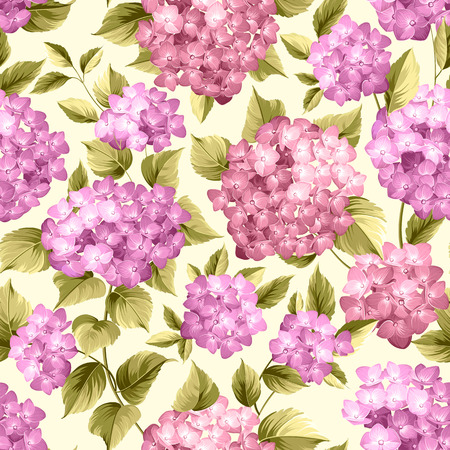 Purple flower hydrangea on seamless background. Mop head hydrangea flower pattern. Beautiful violet flowers. Vector illustration.