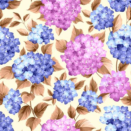 シームレスな背景に紫の花アジサイ。モップ頭アジサイ花模様。美しい赤い花。ベクトルの図。