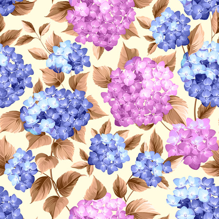 Purple flower hydrangea on seamless background. Mop head hydrangea flower pattern. Beautiful red flowers. Vector illustration.