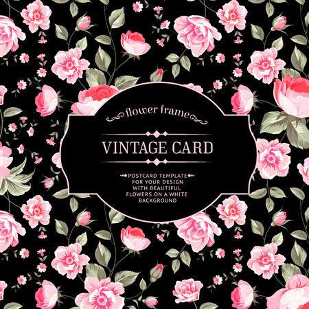 flores chinas: Wallapaper peonía de lujo en estilo vintage. Tarjeta floral con las yemas de flor sobre fondo negro lineal. Ilustración del vector.