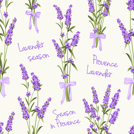 Seamless pattern of lavender flowers on a white background. Watercolor pattern with Lavender for fabric swatch. Seamless pattern for fabric. Vector illustration. Stock Vector - 49727830