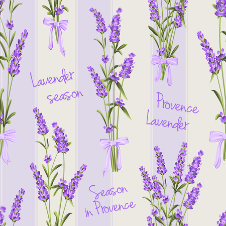 Seamless pattern of lavender flowers on a white background. Watercolor pattern with Lavender for fabric swatch. Seamless pattern for fabric. Vector illustration. Ilustracja