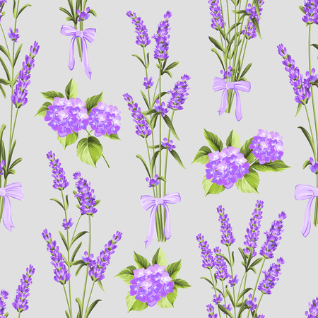 illus: Seamless pattern of lavender and purple flower hydrangea flowers on a gray background. Watercolor pattern with lavender for fabric swatch. Seamless pattern for fabric. Botanical illustration. Vintage style. Making gifts of paper and textiles. Vector illus