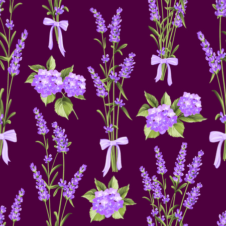 illus: Seamless pattern of lavender and purple flower hydrangea flowers on a dark background. Watercolor pattern with lavender for fabric swatch. Seamless pattern for fabric. Botanical illustration. Vintage style. Making gifts of paper and textiles. Vector illus