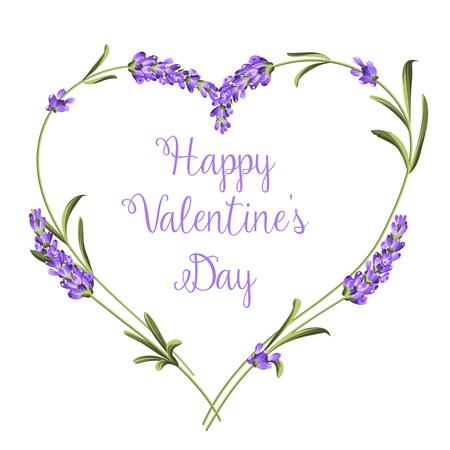 ラベンダー花要素の心。幸せなバレンタインデー。白い背景にラベンダー色の花。 植物のイラスト。ビンテージ スタイルです。紙や繊維の贈り物を  イラスト・ベクター素材