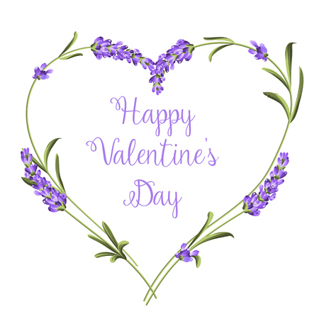 Hearts of lavender flowers elements. Happy Valentine Day. Lavender flowers on a white background.  Botanical illustration. Vintage style. Making gifts of paper and textiles. Vector illustration bundle.