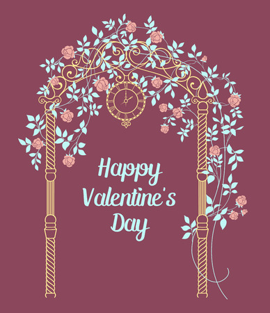 arch: Rose garden with trees and arch flowers, text template plase in the bottom.Happy valentines day.Vector illustration.