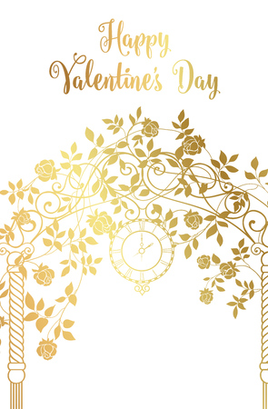 arch: Gold rose garden with trees and arch flowers, text template plase in the bottom. Happy valentines day. Vector illustration.