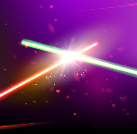 Twee laserstralen worden gekruist over donkere ruimte achtergrond. Diepe ruimte van univerce met sterren en laser gloed. Vector illustratie.