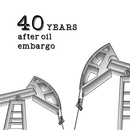 machine oil: Oil derrick industrial machine. Oil derrick illustration of 40-year oil export ban. After oil embargo. Vector illustration.
