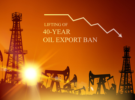 40 year oil export ban. Oil derrick industrial machine for drilling at the sunset. Oil derrick infographic with stages of process oil production. Oil field over sunset. Vector illustration.