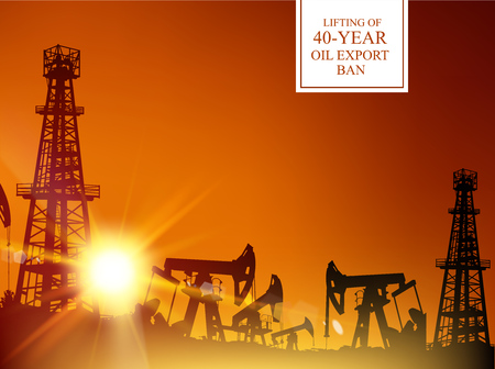 embargo: 40 year oil export ban. Oil derrick industrial machine for drilling at the sunset. Oil derrick infographic with stages of process oil production. Oil field over sunset. Vector illustration.