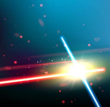Twee laserstralen worden gekruist over donkere ruimte achtergrond. Diepe ruimte van univerce met sterren en laser gloed. Vector illustratie. Stockfoto - 49727959
