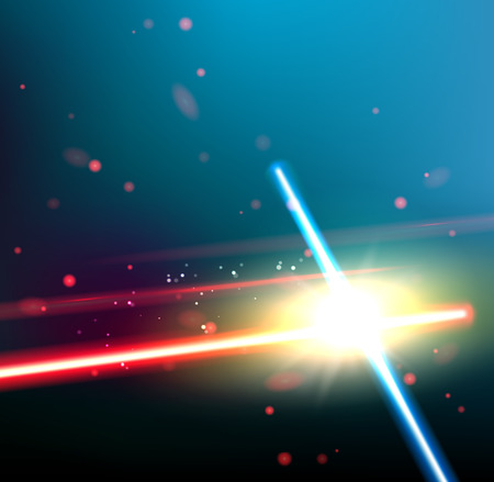 Two laser rays are crossed over dark space background. Deep space of univerce  with stars and laser glow. Vector illustration. Ilustração