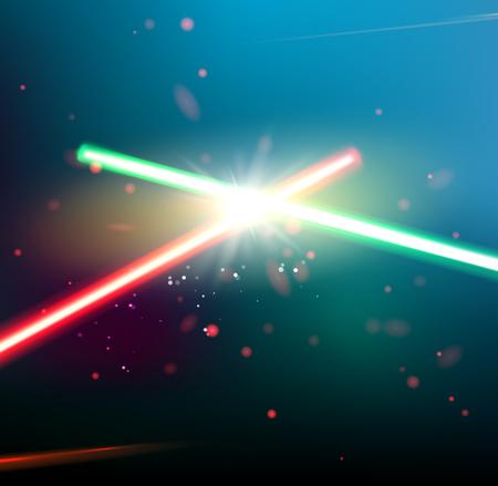 두 레이저 광선은 어두운 공간 배경 위에 교차된다. 별과 레이저 빛이 함께 univerce의 깊은 공간입니다. 벡터 일러스트 레이 션.