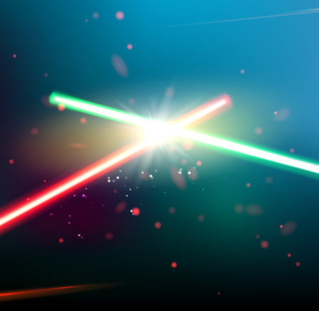 Two laser rays are crossed over dark space background. Deep space of univerce  with stars and laser glow. Vector illustration. Ilustracja