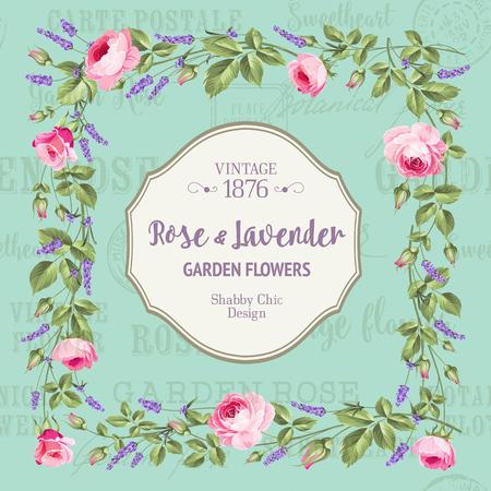 chik: Vintage flower frame over white background. Rose and Lavender. Vector illustration.