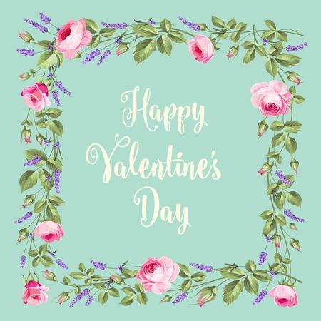 chik: Happy Valentines Day  card. Vintage flower frame over vintage background. Rose and Lavender. Vector illustration.
