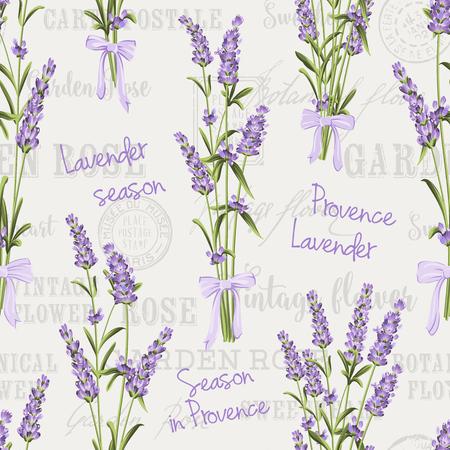 Nahtlose Muster von Lavendelblüten auf einem weißen Hintergrund. Aquarell-Muster mit Lavendel für Gewebemuster. Nahtlose Muster für Stoff. Vektor-Illustration. Standard-Bild - 49727996