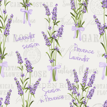 Seamless pattern of lavender flowers on a white background. Watercolor pattern with Lavender for fabric swatch. Seamless pattern for fabric. Vector illustration. Ilustrace