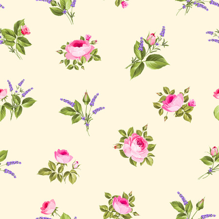 Rose and Lavender. Blossom provence flowers. Classical luxury old fashioned ornament, royal seamless texture for wallpapers, textile, wrapping.