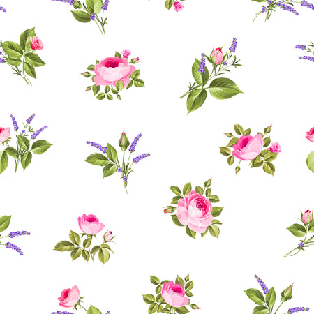 chik: Rose and Lavender. Blossom provence flowers. Classical luxury old fashioned ornament, royal seamless texture for wallpapers, textile, wrapping. Vector illustration.