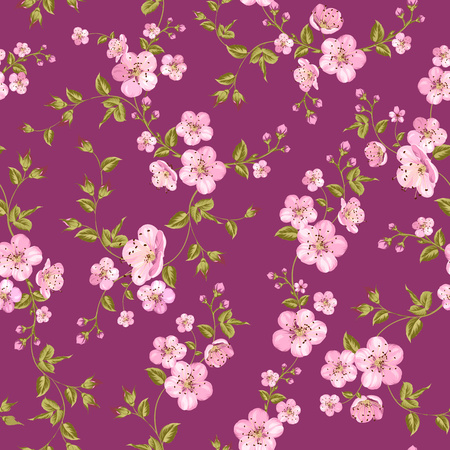 Cherry blossom seamless pattern. Fabric texture pattern with seamless flowers. The floral seamless pattern over light background. Vector illustration.