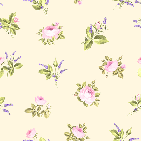 postcard vintage: Rose and Lavender. Blossom provence flowers. Classical luxury old fashioned ornament, royal seamless texture for wallpapers, textile, wrapping. Vector illustration.