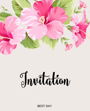 flower blooming: Flower garland for invitation card. Invitation card template with blooming flowers and custom text isolated over white. Pink flowers on the white background. Vector illustration.