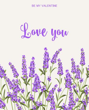 나는 당신을 사랑 카드. 회색 배경에 라벤더 꽃의 무리입니다. 종이, 라벨 및 기타 인쇄 또는 웹 프로젝트에 대한 라벤더 카드. 라벤더 꽃 레이블. 벡터