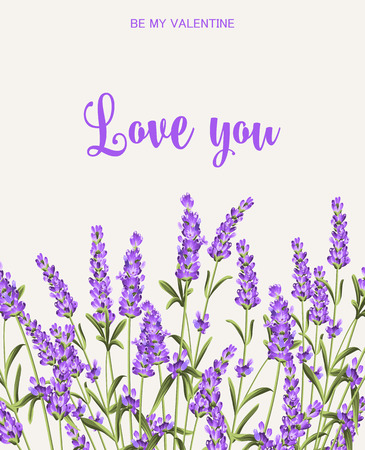 I love you card. Bunch of lavender flowers on a gray background. Lavender card for paper, label and other printing or web projects. Label with lavender flowers. Vector illustration.