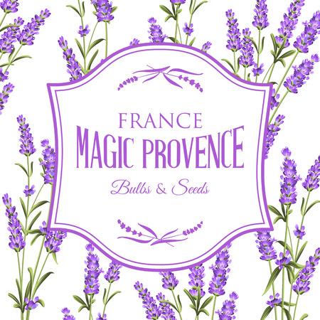 Frame van lavendel bloemen op een witte achtergrond. Label zeep pakket. Label met lavendel bloemen. Vector illustratie.