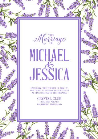 Marriage invitation card with custom sign and flower frame. Lavender frame for provence card. Printable vintage marriage invitation with flowers over white. Lavender sign label. Vector illustration.