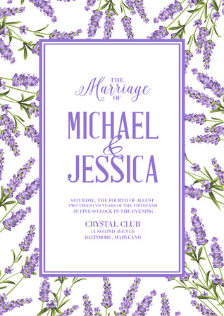 provence: Marriage invitation card with custom sign and flower frame. Lavender frame for provence card. Printable vintage marriage invitation with flowers over white. Lavender sign label. Vector illustration.