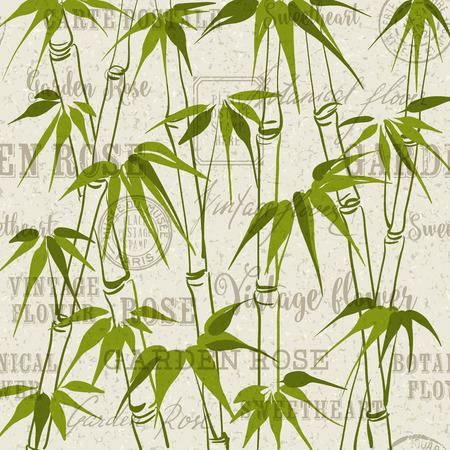 bambu: El bambú verde con el patrón de hojas sobre fondo gris. Telón de fondo de sellos y matasellos postales, fondo gris. Vectores