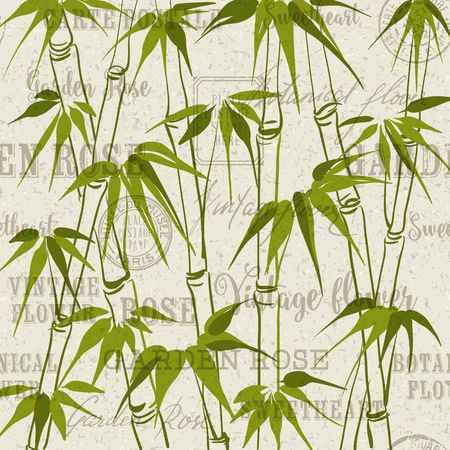 bamboo border: Green Bamboo with leaves pattern over gray background. Backdrop of postal stamps and postmarks, gray background.  Illustration