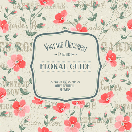 lable: Lable card with template text and flower pattern on background. Backdrop of postal stamps and postmarks, gray background.