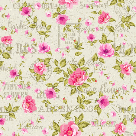 textile background: Elegant seamless peony pattern on white background. Backdrop of postal stamps and postmarks, gray background.