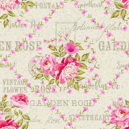 postmarks: Seamless vintage flower pattern on stripe background. Backdrop of postal stamps and postmarks, gray background.