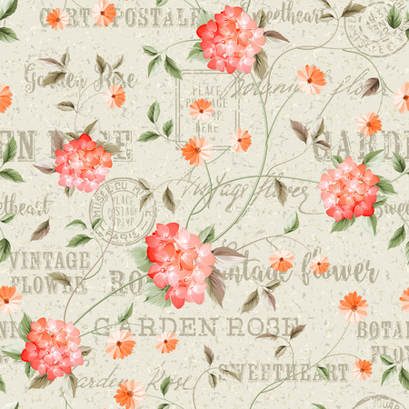 Fabric pattern. Seamless floral background. Shabby chic style patterns with blooming hydrangea. Backdrop of postal stamps and postmarks, gray background.