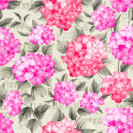 postmarks: Purple flower hydrangea on seamless background. Mop head hydrangea flower pattern. Beautiful red flowers. Backdrop of postal stamps and postmarks, gray background.  Illustration