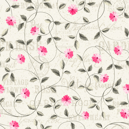 shabby: Wallpaper texture. Seamless floral background. Shabby chic style patterns with blooming chicory. Backdrop of postal stamps and postmarks, gray background. Illustration